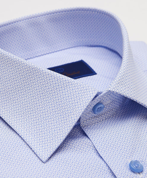 RBCSP3201136 | Sky Blue Geometric Print Dress Shirt