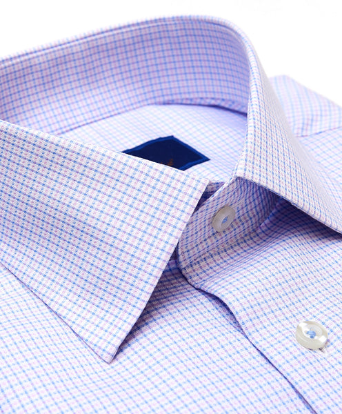 RBCSP3228466 | Sky & Pink Textured Micro Check Dress Shirt