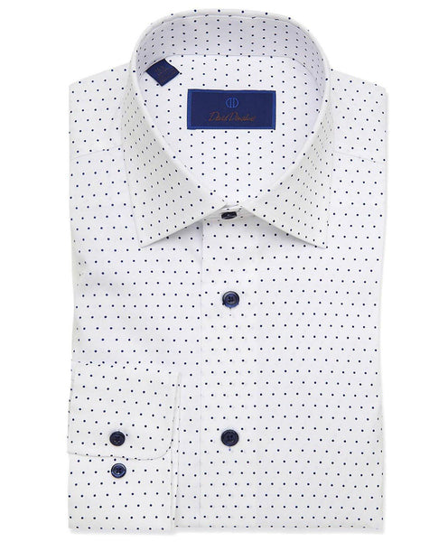 RBCSP3300155 | White & Blue Dot Print Dress Shirt