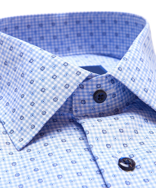 RBSP02855423 | Blue Gingham Printed Dress Shirt
