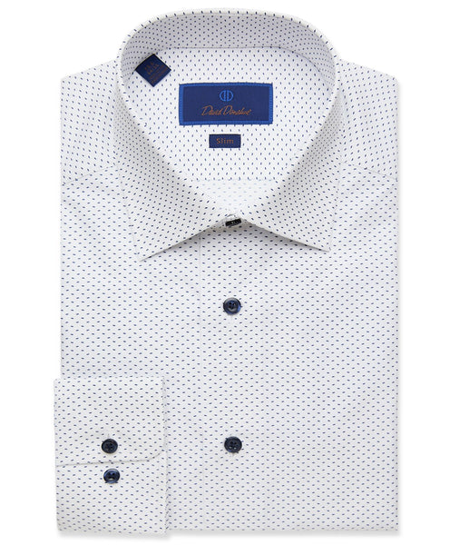 SBCSP2216155 | White & Navy Micro Print Dress Shirt