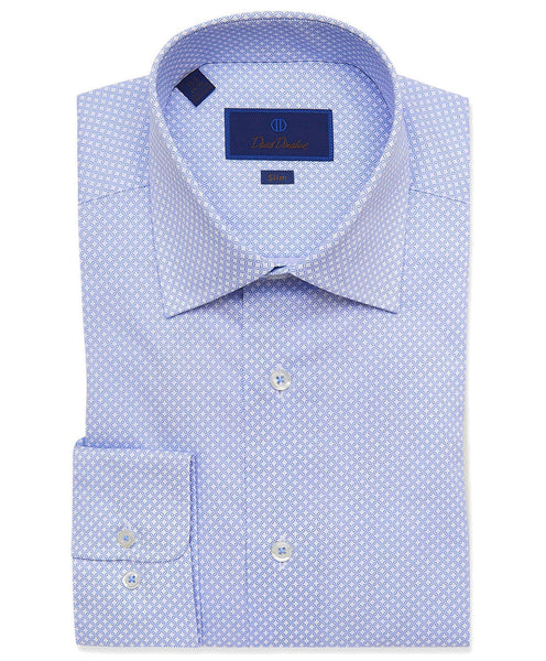 SBCSP3204135 | White & Blue Floral Print Dress Shirt