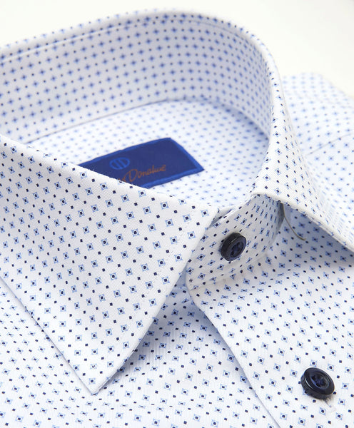 SBCSP3206155 | White & Navy Diamond Print Dress Shirt