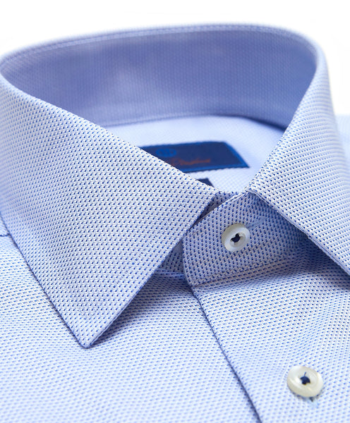 SBSP02236423 | Blue & Navy Micro Dobby Dress Shirt