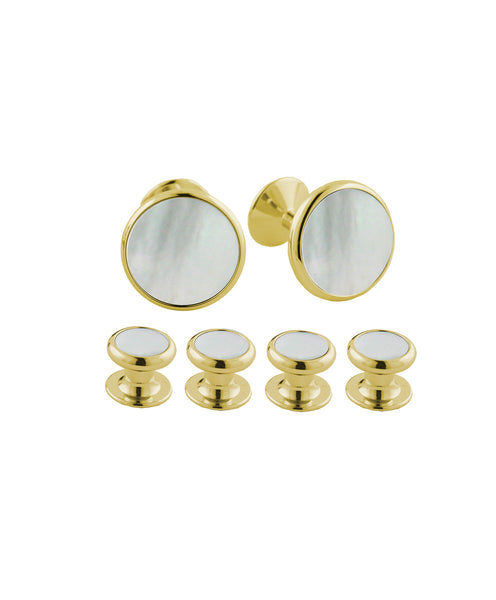 Mother of Pearl & Brass Stud Set