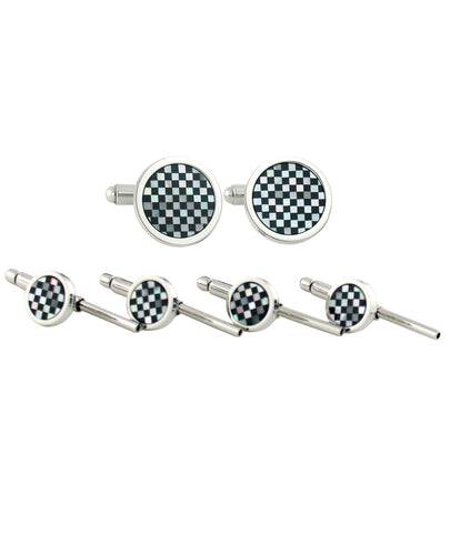 Sterling silver mother of pearl /& onyx striped Cufflinks Shirt Dress Studs Gift Set