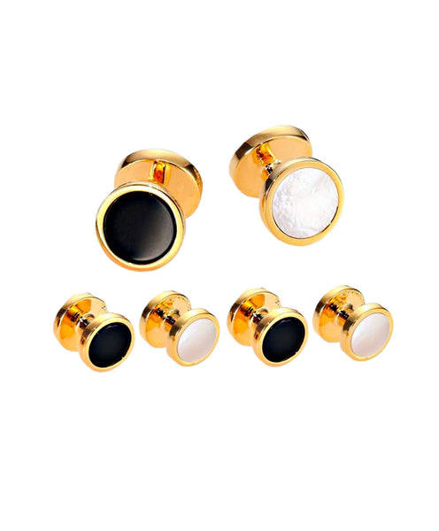 SS880509 | Mother of Pearl & Onyx reverse Brass Stud Set