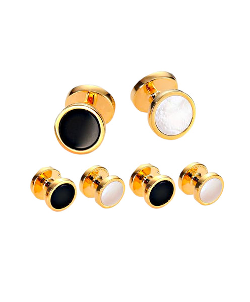 Mother of Pearl & Onyx reverse Brass Stud Set