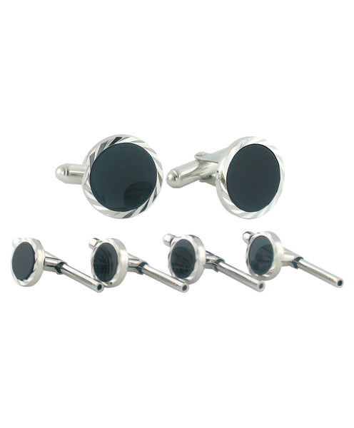 SS890902 | Sterling Silver Onyx Diamond Cut Stud Set