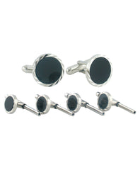 Sterling Silver Onyx Diamond Cut Stud Set