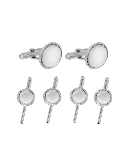 SS891102 | Mother of Pearl Beveled Silver Stud Set