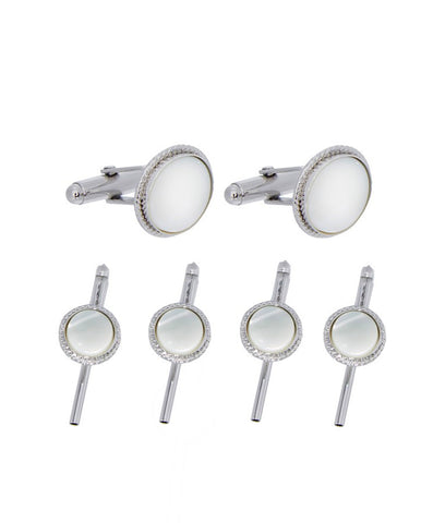 Mother of Pearl Beveled Silver Stud Set