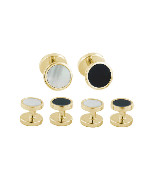 Gold Plated Sterling Silver Onyx & Mother of Pearl Stud Set