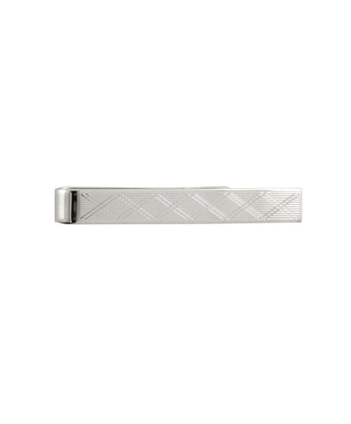 Silver Plaid Striped Tie Bar