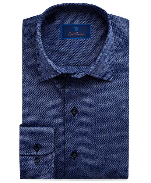 TBCSM2306412 | Navy Textured Circle Fusion Shirt