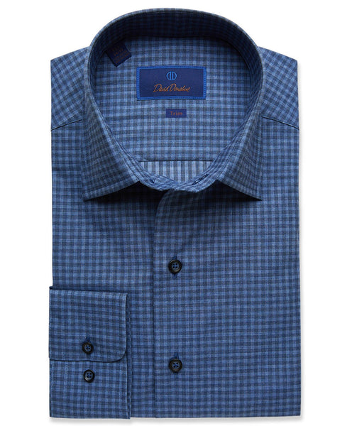 TBCSM2898476 | Denim Melange Check Fusion Shirt