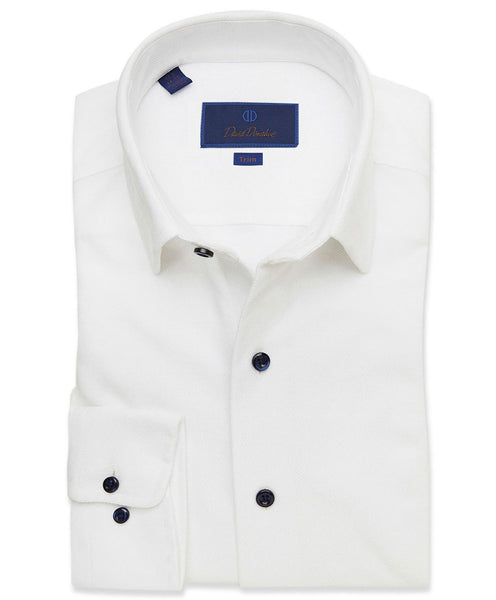 TBCSM3107110 | White Performance Knit Twill Fusion Shirt