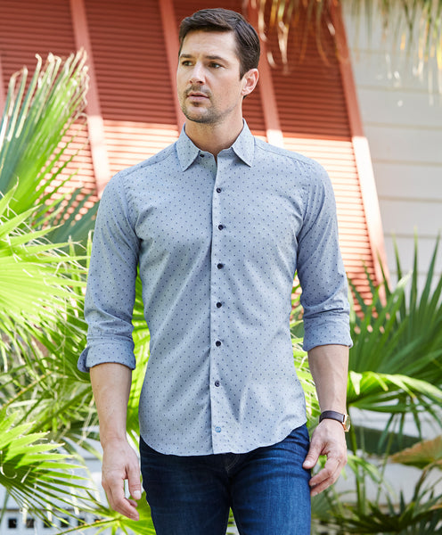 TBCSM3220476 | Denim Mirco Diamond Print Fusion Shirt