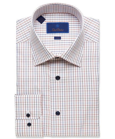 TBCSP2880486 | Navy & Merlot Tattersal  Dress Shirt