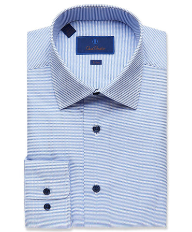 TBCSP2881423 | Navy & Blue Texturted Mini Check Dress Shirt