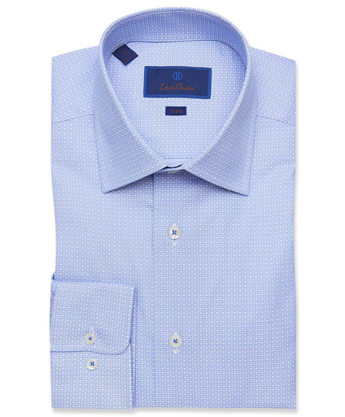TBCSP3208135 | Blue Micro Geometric Print Dress Shirt