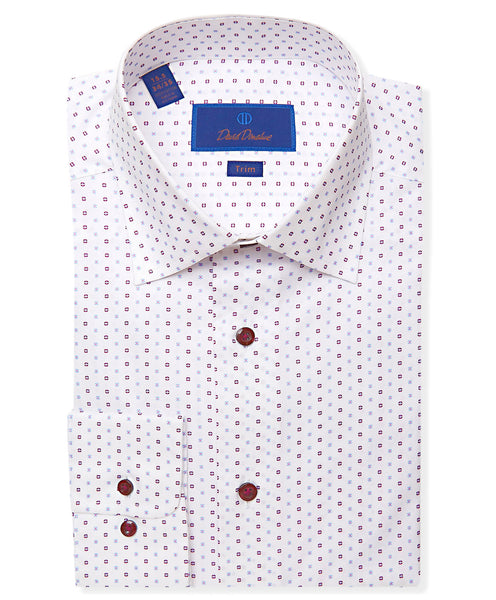 TBCSP3231144 | White & Berry Mini Flower Dress Shirt