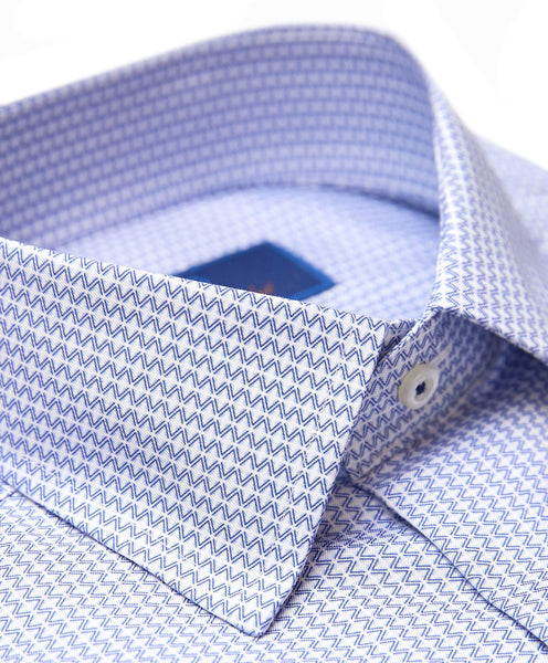 TBCSP3232135 | Blue Horizontal Diamond Dress Shirt