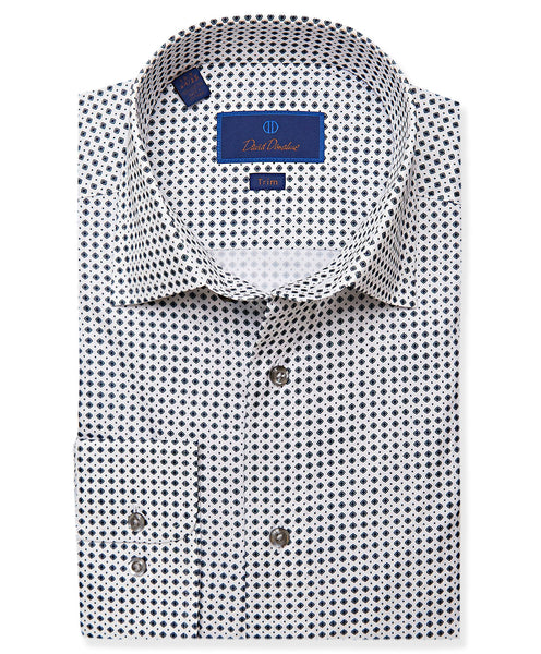 TBCSP3233125 | White & Gray Mini Neat Dress Shirt