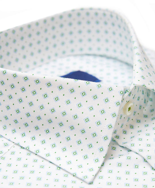TBCSP3234132 | White & Green Diamond Print Dress Shirt