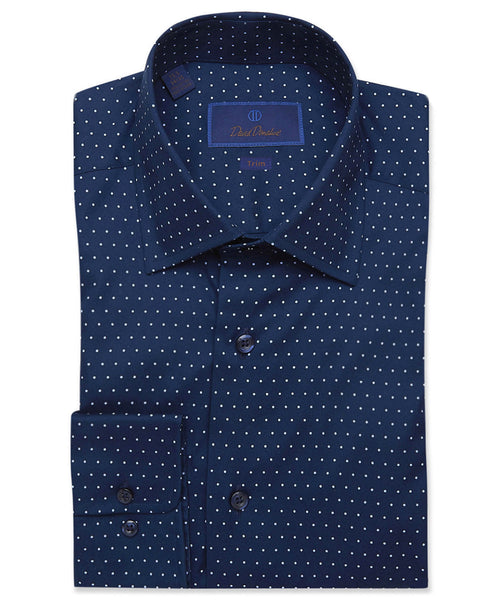 TBCSP3300450 | Navy & Sky Blue Dot Print Dress Shirt