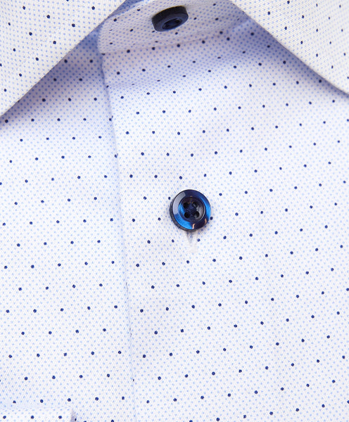TBCSP3303456 | Blue Micro Dot Print Dress Shirt