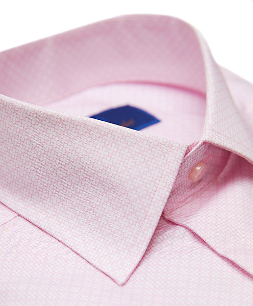 TBCSP3406145 | White & Pink Floral Neat Print Dress Shirt