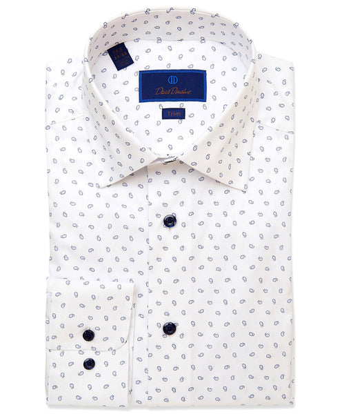 TBCSP3505135 | White & Blue Micro Paisley Print Dress Shirt