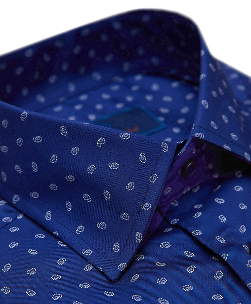 TBCSP3505412 | Navy Mini Paisley Print Dress Shirt