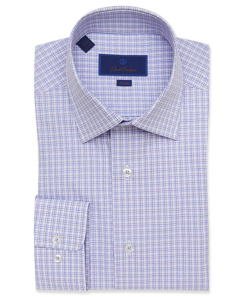 TBCSP3608137 | White & Purple Textured Check Dress Shirt