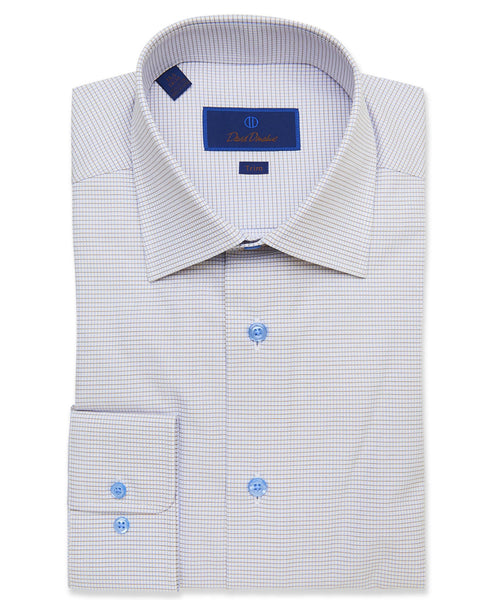 TBCSP3610124 | White & Dune Textured Mini Check Dress Shirt