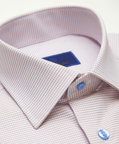 TBCSP3610180 | White & Melon Textured Mini Check Dress Shirt