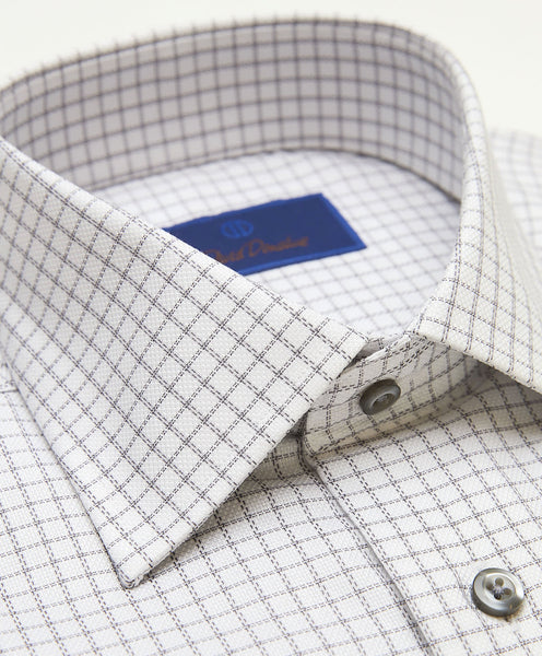 TBCSP3614125 | White & Gray Dobby Ground Check Dress Shirt