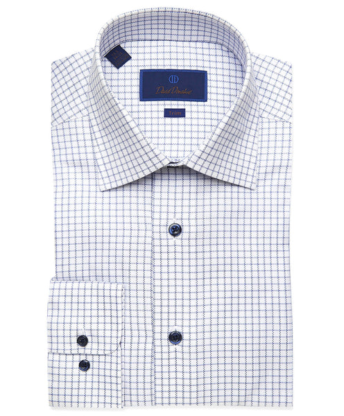 TBCSP3614139 | White & Blue Dobby Ground Check Dress Shirt