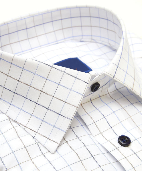 TBCSP3626135 | White & Blue Tattersall Non-Iron Dress Shirt