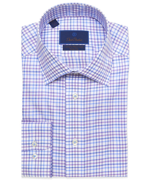 TBCSP3627137 | Purple Bold Plaid Non-Iron Dress Shirt