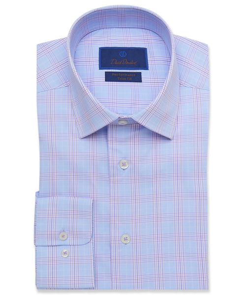 TBCSP3634479 | Blue & Lilac Glenplaid Performance Dress Shirt