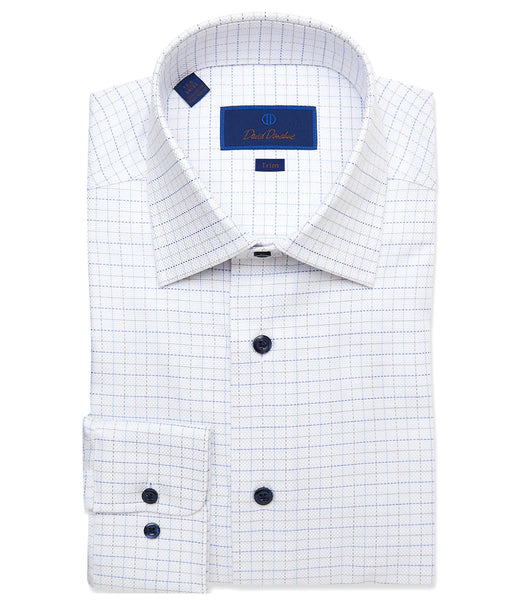 TBCSP3658139 | White & Royal Oxford Tattersall Dress Shirt