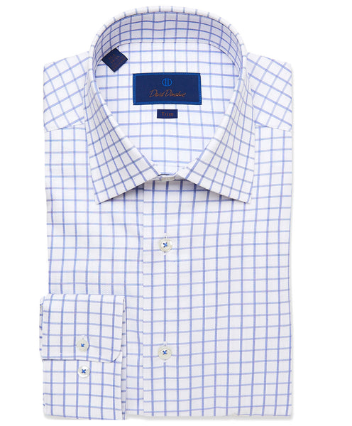 TBCSP3659139 | White & Blue Textured Check Dress Shirt