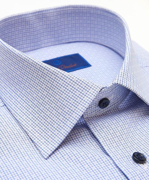 TBCSP3660135 | White & Blue Textured Mini Check Dress Shirt