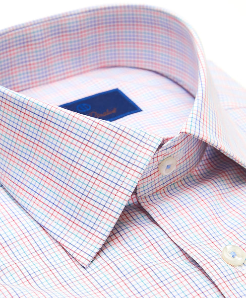 TBCSP3662147 | White & Coral Tattersall Check Dress Shirt