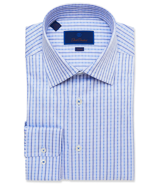 TBCSP3663423 | Blue Textured Plaid Dress Shirt