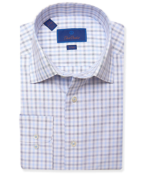 TBCSP3665135 | White & Blue Herringbone Check Dress Shirt