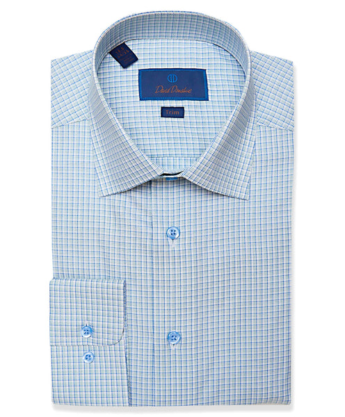 TBCSP3666132 | White & Green Mini Check Dress Shirt