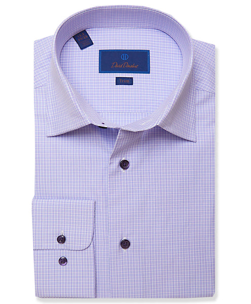 TBCSP3667534 | Lilac Micro Plaid Dress Shirt